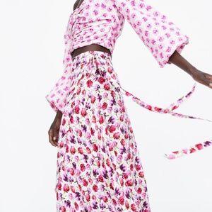 Zara sarong floral skirt NWT